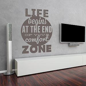'Life Begins At The End Of…' Wall Sticker - office & study
