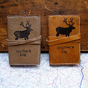 Handmade Leather 'Drifters' Mini Journal