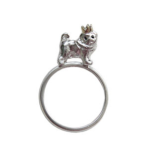 Pug Ring. With Little Gold Crown - rings