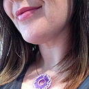 Frost Purple Lace Pendant Worn