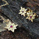 Gold And Red Sapphire Star Stud Earrings