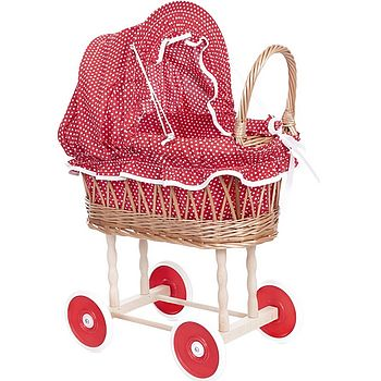 Red Polka Dot Wicker Dolls' Pram