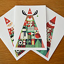 Santa, Rudolph And Snowman Christmas Cards