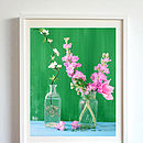 Pink Stocks And Apple Blossom In Canvas