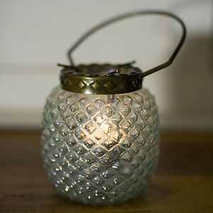Hobnail Glass Tea Light Lantern - lights & lanterns