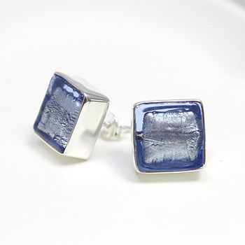 Murano Glass Square Stud Earrings - Ice Blue