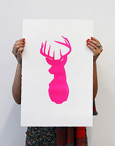 'Wild Stag' Neon Pink Screen Print - posters & prints