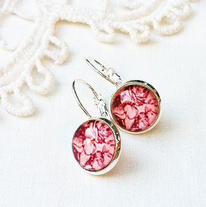 Pink Floral Silver Earrings
