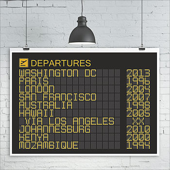Personalised Departures Board Print