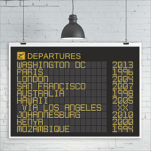 Personalised Departures Board Print - posters & prints