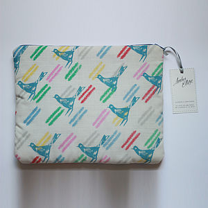 Cosmetics And Travel Bag With Sparrow Print - wash & toiletry bags