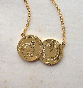 18ct Yellow Gold Plated Silver Double Coin Necklace