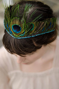 Peacock Feather Tiara With Crystal Edge - hats, hairpieces & hair clips
