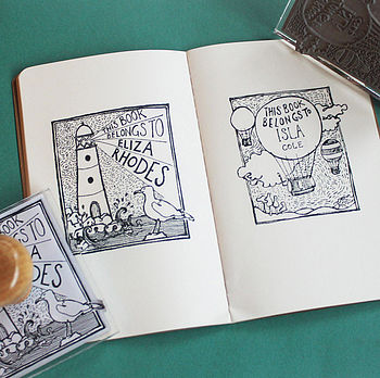 Personalised Balloon/Lighthouse Book Stamp