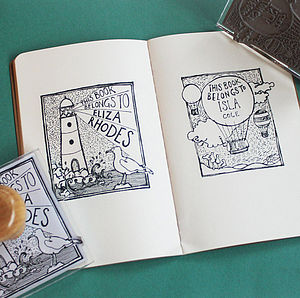 Personalised Balloon/Lighthouse Book Stamp - stationery & desk accessories