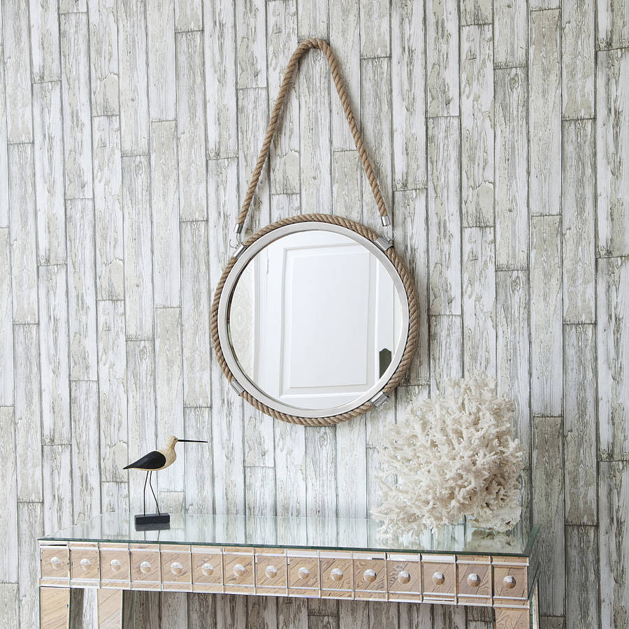 Round rope mirror with rope hanger by decorative mirrors for Hanging mirror