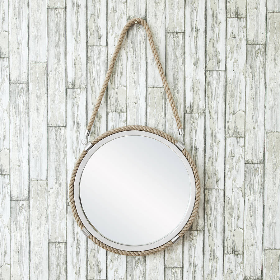 Round rope mirror with rope hanger by decorative mirrors for Mirror hangers