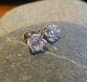 White Cubic Zirconia Silver Stud Earrings - earrings