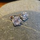 White Cubic Zirconia Silver Stud Earrings