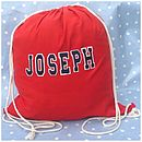 Personalised Pe Kit Cotton Pump Bag Red