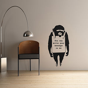Personalised Banksy Monkey Sign Wall Sticker