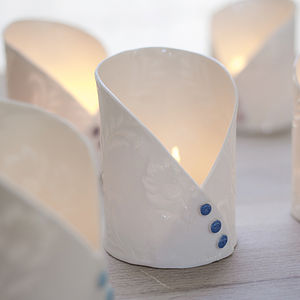 Handmade Printed Porcelain Button Tea Light - room decorations