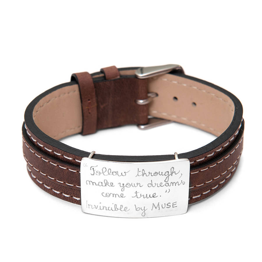 personalised sterling silver and leather bracelet by merci