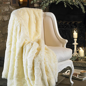 Large Winter Chills Cream Faux Fur And Fleece Throw