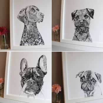 'Set Of Four Dog Portrait' Prints