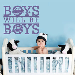 'Boys Will Be Boys' Wall Sticker - decorative accessories