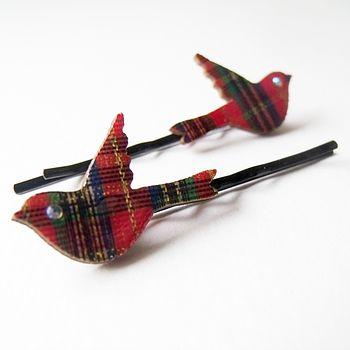Tiny Tartan Birdie Hairslides