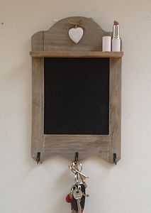 Wooden Chalk Board With Hooks And Shelf - storage & organisers