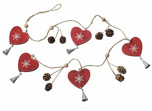 Wooden Heart And Pine Garland - outdoor decorations