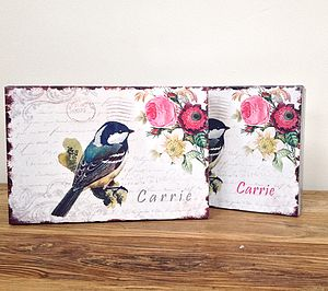 Bird, Floral Design Keepsake Box Tin - storage & organisers