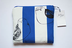 Cosmetics And Travel Bag With Two Birds Print - wash & toiletry bags