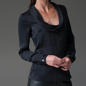 Cowl Neck Silk Blouse Black