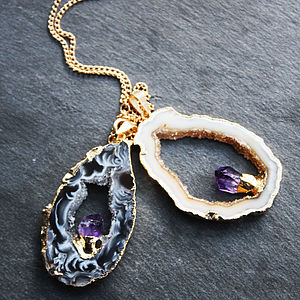 Mini Semi Precious Geode And Amethyst Pendant - view all sale items