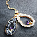 Mini Semi Precious Geode And Amethyst Pendant