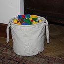 Canvas Toy Storage Bucket Bag, Medium