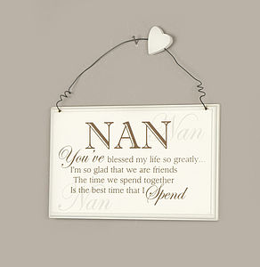 Wooden Blessed Nan Message Plaque - signs