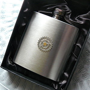 Cogs Hip Flask - wines, beers & spirits
