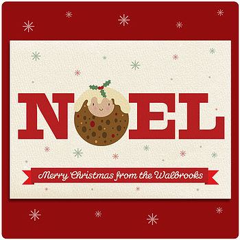 Personalised Noel Christmas Pudding Card