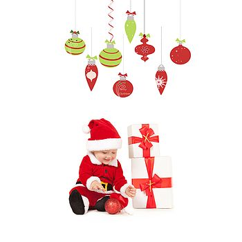 Christmas Bauble Fabric Wall Stickers