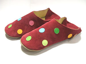 Ladies Soft Leather Raspberry Polk Dot Slip On Slippers