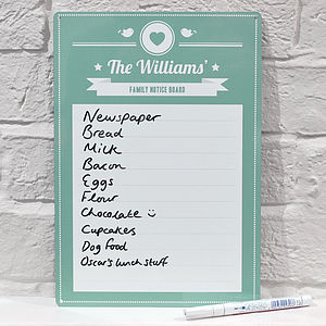 Personalised Family Notice Board Whiteboard - storage & organising
