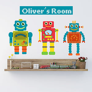Personalised Robot Wall Stickers - decorative accessories