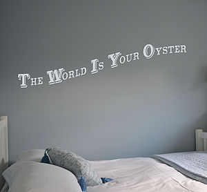 'The World Is Your Oyster' Wall Sticker - bedroom