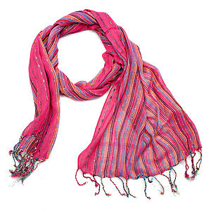 Striped Ladies Winter Scarf Six Colours - hats, scarves & gloves