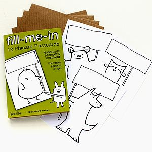 'Fill Me In' 12 Blank Postcards