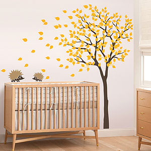 Tree With Two Little Hedgehog's Wall Sticker - personalised